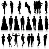 Black silhouettes of beautiful mans and womans on white backgrou Stock Photos