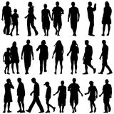 Black silhouettes of beautiful mans and womans on white backgrou Royalty Free Stock Image