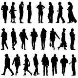 Black silhouettes of beautiful mans and womans on white backgrou Stock Photo