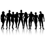 Black silhouettes of beautiful mans and womans on white backgrou Royalty Free Stock Images