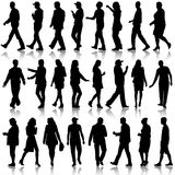 Black silhouettes of beautiful mans and womans on white. Background. Vector illustration Stock Photo