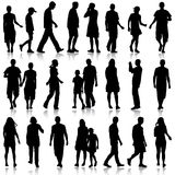 Black silhouettes of beautiful mans and womans on white  Stock Photo