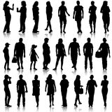 Black silhouettes of beautiful mans and womans on white  Royalty Free Stock Image