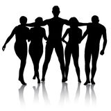Black silhouettes of beautiful mans and womans on white  Royalty Free Stock Photography