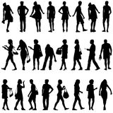 Black silhouettes of beautiful mans and womans Royalty Free Stock Photos