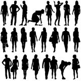 Black silhouettes of beautiful mans and womans on Royalty Free Stock Photography