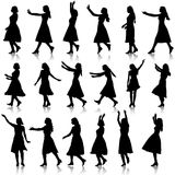 Black silhouettes of beautiful womans on white Royalty Free Stock Image