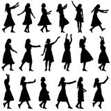Black silhouettes of beautiful womans on white. Background. Vector illustration Stock Photos