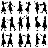 Black silhouettes of beautiful womans on white. Background. Vector illustration Royalty Free Stock Image