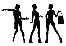 Black silhouettes of beautiful women Royalty Free Stock Photo