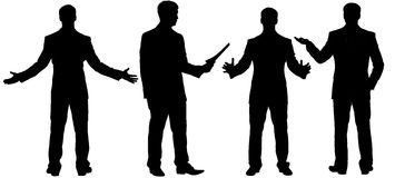 Black silhouettes of businessman standing in different postures Stock Images