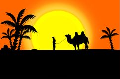 Black silhouettes of camel and man Royalty Free Stock Photo