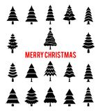Black silhouettes of Christmas trees. Holiday New Year icons. Icons of fir trees isolated on white background Royalty Free Stock Photo
