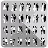 Black silhouettes of couples,woman,man Royalty Free Stock Image