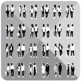 Black silhouettes of couples, woman, man. Set of couples silhouettes, woman, man with white cloths on top, totally editable, collection vector illustration