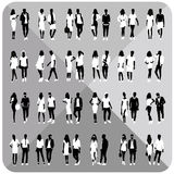 Black silhouettes of couples,woman,man. Set of couples silhouettes,woman,man with white cloths on top,totally editable,collection stock illustration