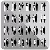 Black silhouettes of couples,woman,man Stock Images