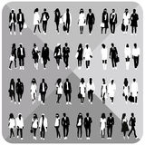 Black silhouettes of couples,woman,man Royalty Free Stock Photos