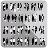 Black silhouettes of couples,woman,man Stock Image