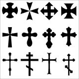 Black Silhouettes of crosses: Catholic, Christian, Celtic, pagan. Illustrations of crosses different geometric forms. Black Silhouettes of crosses: Catholic Royalty Free Stock Photography