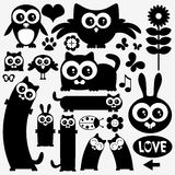 Black silhouettes of cute animals Royalty Free Stock Images