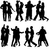 Black silhouettes Dancing on white background Stock Photos