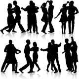 Black silhouettes Dancing on white background. Vector illustration Stock Images