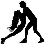Black silhouettes Dancing on white background. Vector illustration.  vector illustration