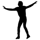 Black silhouettes Dancing on white background. Vector illustration.  royalty free illustration