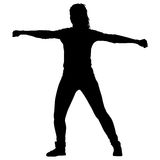Black silhouettes Dancing on white background. Vector illustration.  stock illustration
