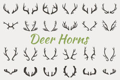 Black silhouettes of different deer horns, vector Stock Photography