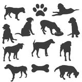 Black silhouettes of dogs Royalty Free Stock Photo