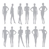 Black silhouettes dummies fashion store. Vector illustration Royalty Free Stock Images
