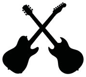 Black silhouettes of electric guitars Stock Photos