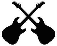 Black silhouettes of electric guitars Royalty Free Stock Images