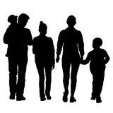 Black silhouettes Family on white background. Royalty Free Stock Image