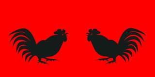 Black silhouettes fighting cocks on a red background. Symbol of Chinese horoscope and folklore personage. Vector illustration suitable as part of the ornament Royalty Free Stock Image