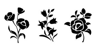 Black silhouettes of flowers. Vector illustration. Royalty Free Stock Images