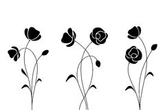 Black silhouettes of flowers. Vector illustration. Royalty Free Stock Photography