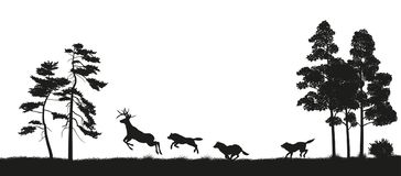 Black silhouettes of forest animals. Flock of wolves hunts a deer. Isolated landscape. Wildlife scene. Vector illustration Royalty Free Stock Image