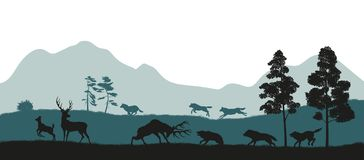 Black silhouettes of forest animals. Flock of wolves hunts a deer. Isolated landscape. Wildlife scene. Vector illustration Stock Image