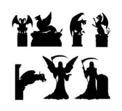 Black silhouettes of gothic statues. Medieval architecture. Cathedral sculpture. Cemetery memorial. Halloween symbol royalty free illustration