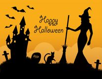 Halloween card with holiday symbols Stock Images