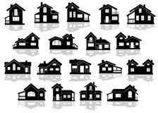 Black silhouettes of houses and cottages Stock Images