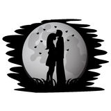 Black silhouettes of lovers Royalty Free Stock Images
