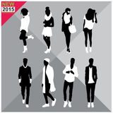 Black silhouettes of men and women,autumn,fall,summer attire,outfit,totally editable,set,collection Royalty Free Stock Image