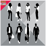 Black silhouettes of men and women,autumn,fall,summer attire,outfit,totally editable,set,collection. Black silhouettes of men and women with white cloths on top Stock Photos