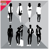 Black silhouettes of men and women,autumn,fall,summer attire,outfit,totally ,set,collection. Black silhouettes of men and women with white cloths on top,autumn vector illustration