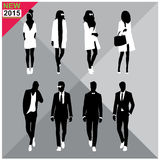 Black silhouettes of men and women,autumn,fall,summer attire,outfit,totally ,set,collection Stock Photography