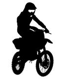 Black silhouettes Motocross rider on a motorcycle Royalty Free Stock Photography